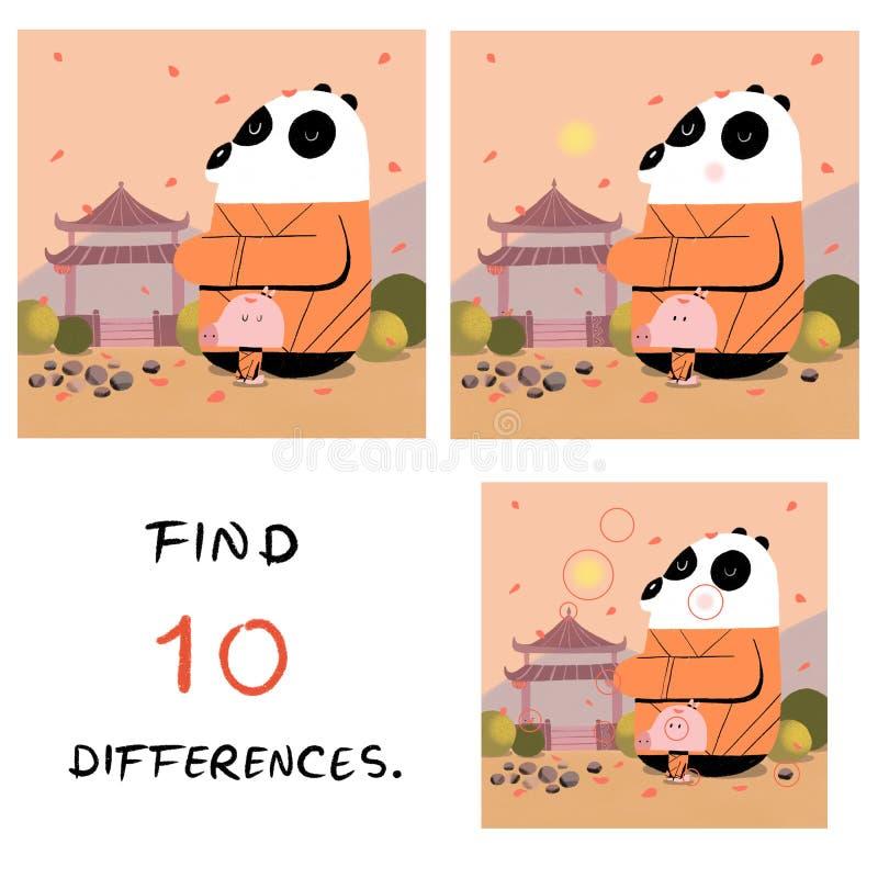 Смешная свинья с иллюстрацией панды находка 10 разниц иллюстрация штока