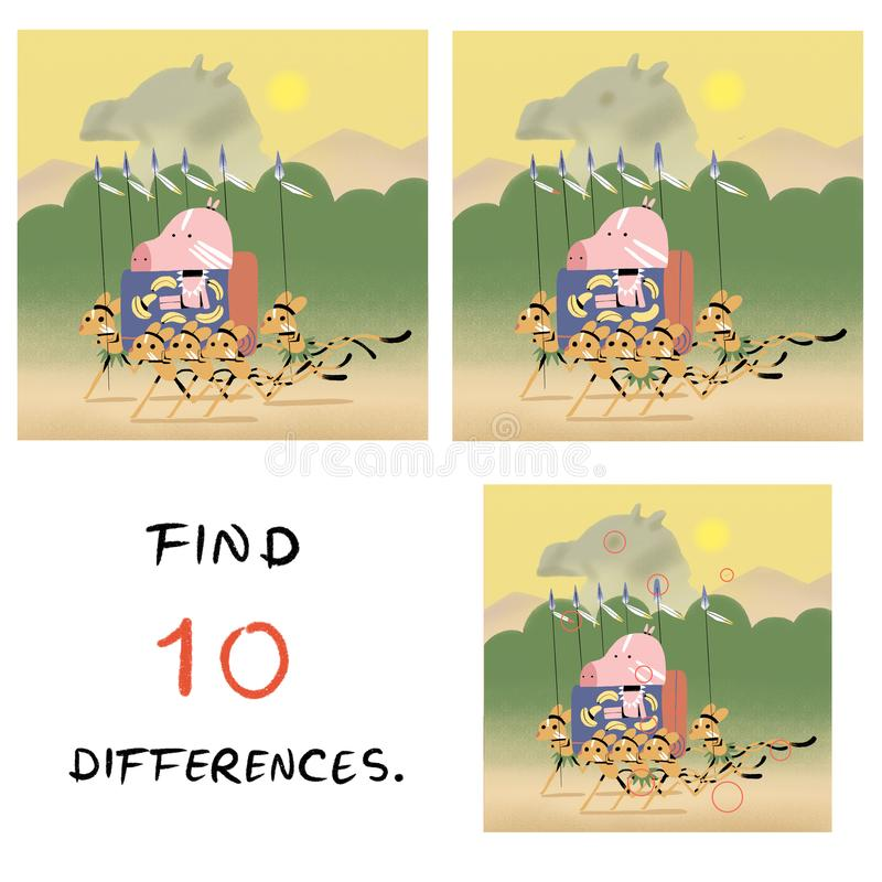 Смешная свинья с иллюстрацией jerboa находка 10 разниц бесплатная иллюстрация