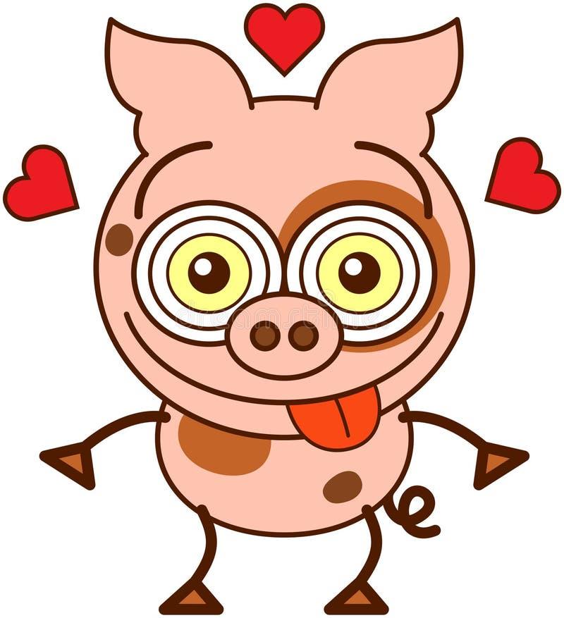 Смешная свинья чувствуя сумашедше в влюбленности бесплатная иллюстрация