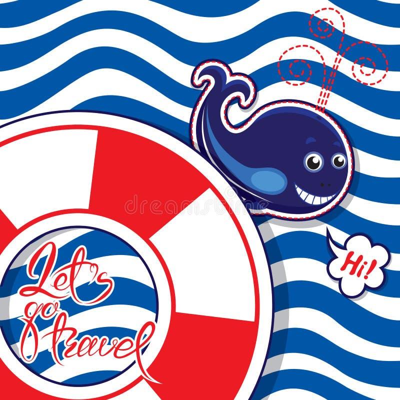 Смешная сезонная карточка с синим китом на striped предпосылке Lifeb иллюстрация штока