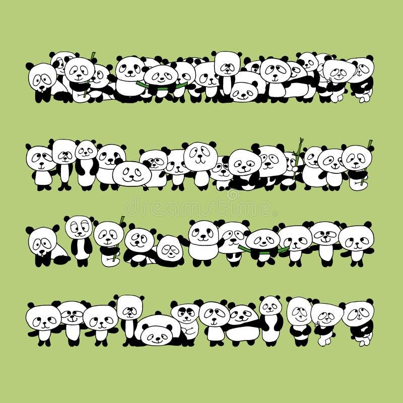 Смешная семья панды для вашего дизайна иллюстрация вектора