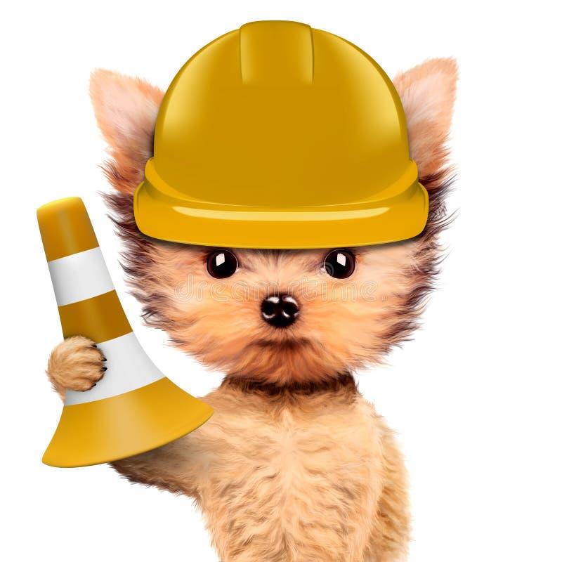 Смешная собака в желтой трудной шляпе изолированной на белизне бесплатная иллюстрация