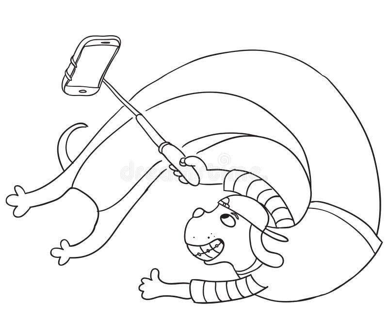 Смешная собака принимая selfie с monopod Нарисованный рукой эскиз вектора бесплатная иллюстрация