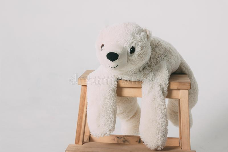 Смешная старая белая игрушка полярного медведя на деревянном стуле изолированном на серой предпосылке стоковые фото
