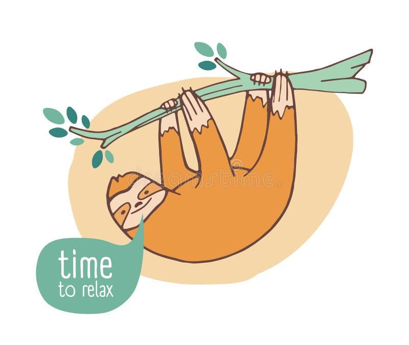 Смешная счастливая лень вися от ветви Милое ленивое дикое экзотическое животное ослабляя на тропическом дереве Прелестный шарж иллюстрация вектора