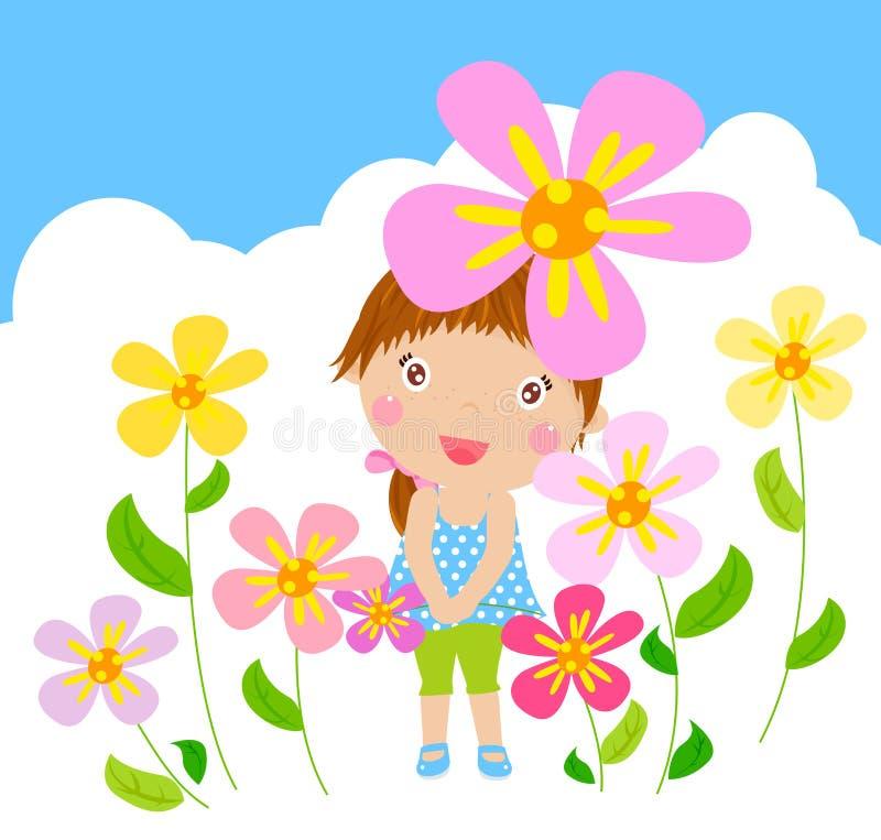 Смешная счастливая ся девушка с цветком иллюстрация вектора