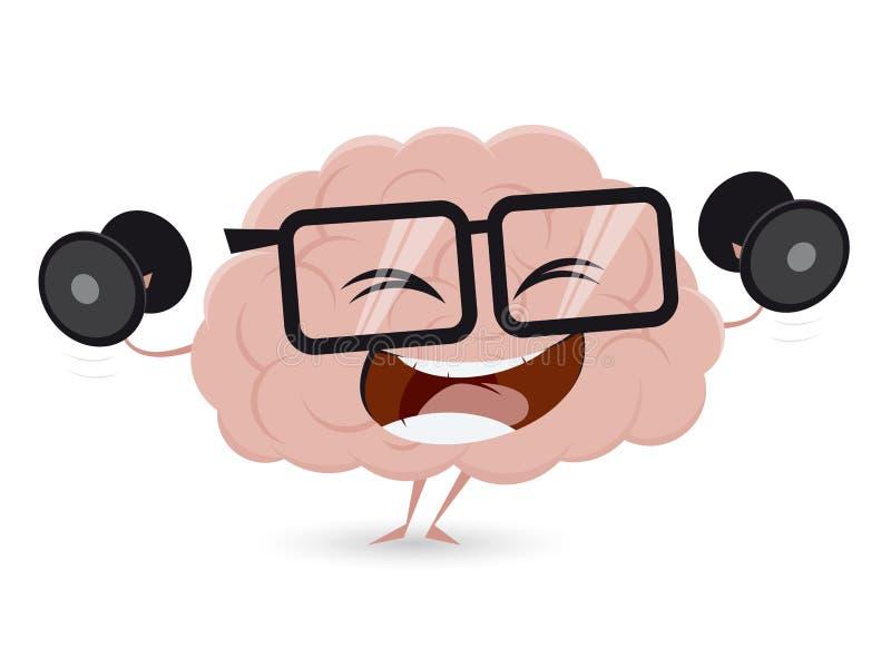 Смешная тренировка мозга с гантелями иллюстрация вектора