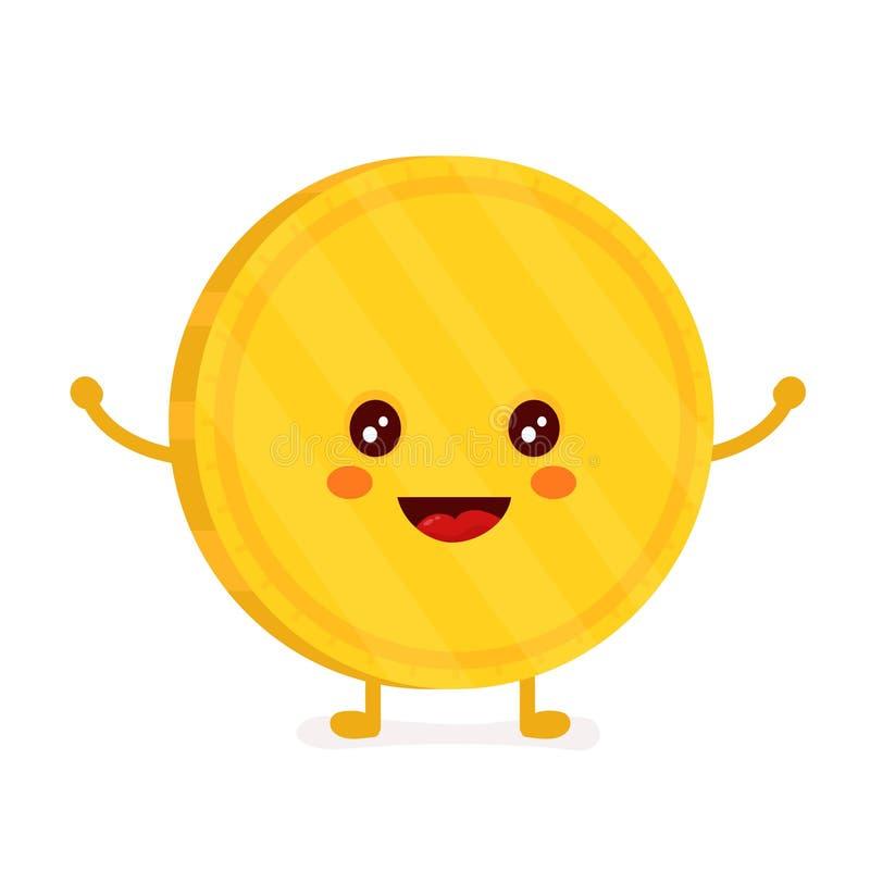 Смешная усмехаясь милая золотая монетка вектор иллюстрация вектора