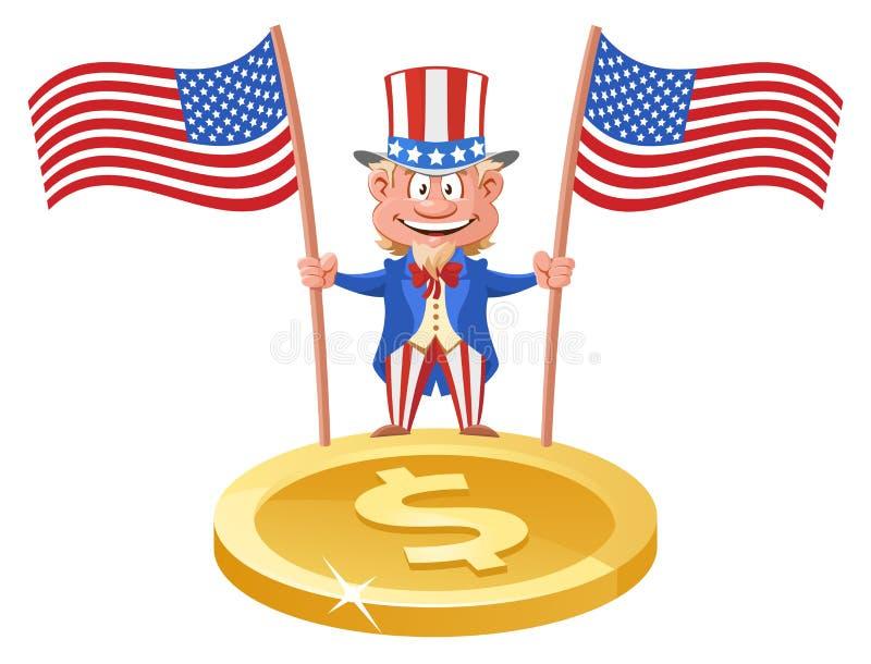 Смешное дядя Сэм держа американские флаги над символом делает иллюстрация вектора