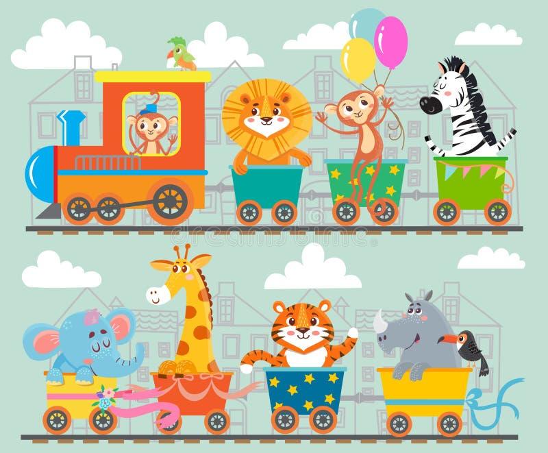 Смешное животное на поезде бесплатная иллюстрация