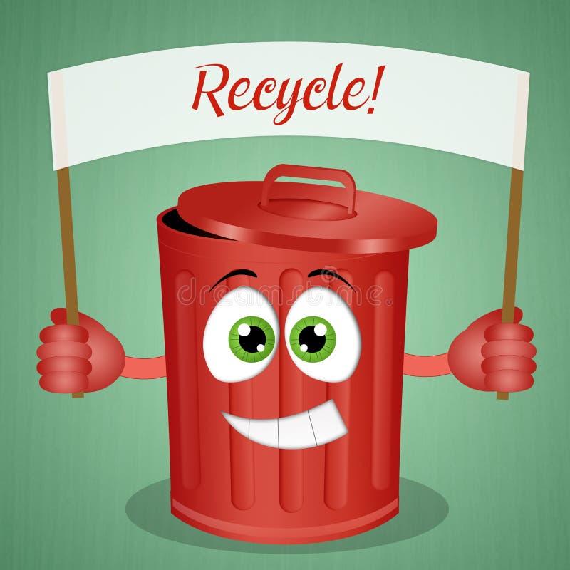 Смешное зеленое вонючее мусорное ведро бесплатная иллюстрация