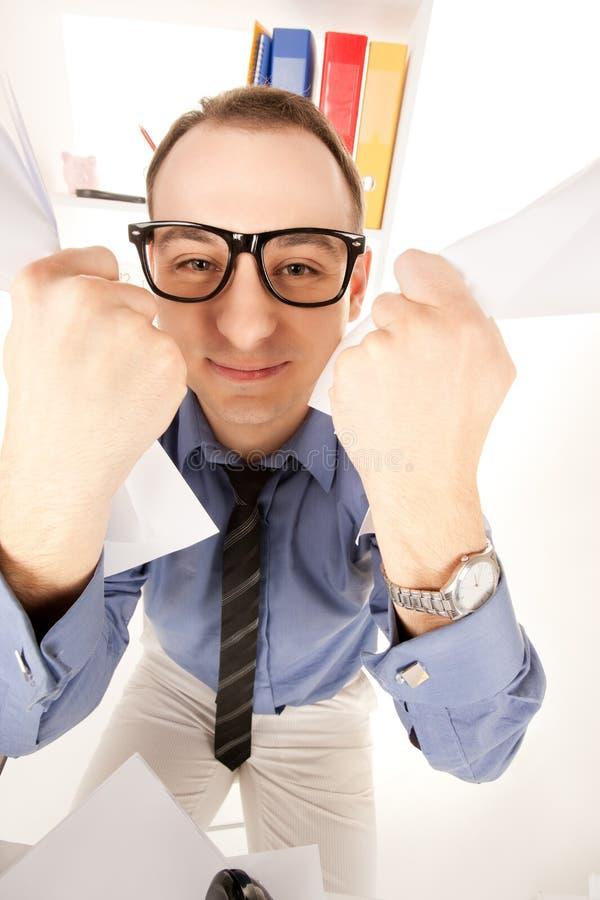 Смешное изображение бизнесмена в офисе стоковое фото rf
