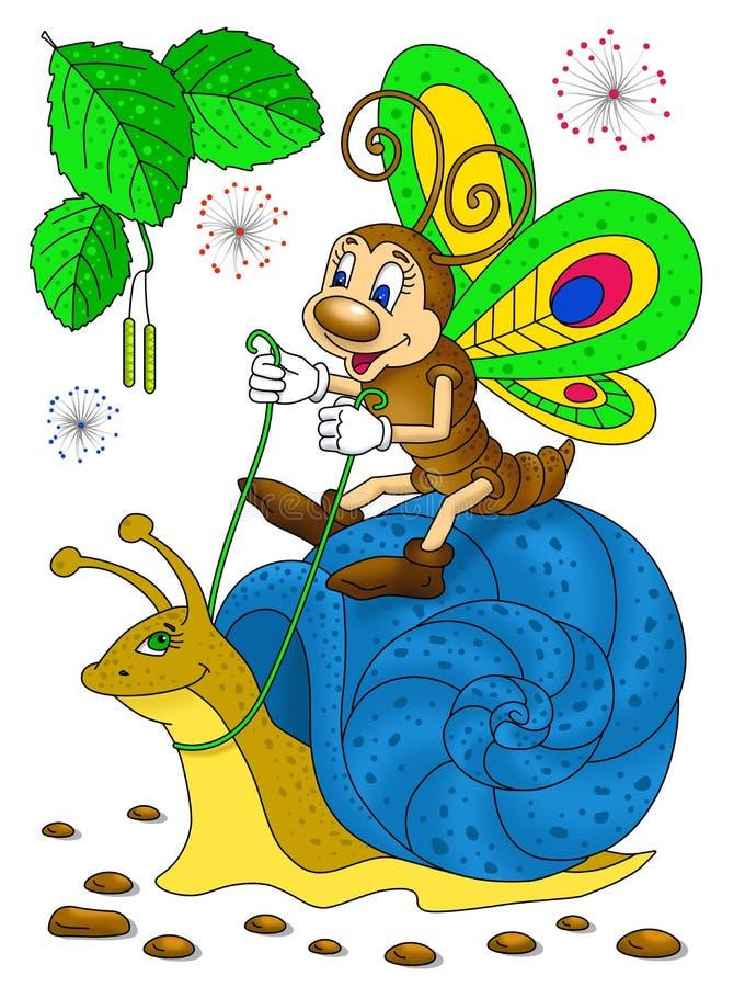 Смешное катание бабочки на улитке стоковое изображение