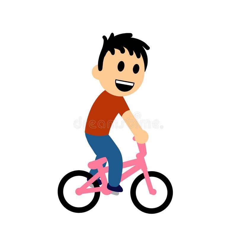 Смешное катание мальчика шаржа на велосипеде Плоская иллюстрация вектора белизна изолированная предпосылкой иллюстрация штока