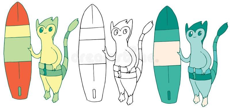 Смешное лета doodle притяжки руки чудовища прибоя цвета мультфильма счастливое иллюстрация вектора