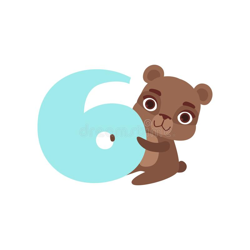 Смешное милое животное бурого медведя и 6, годовщина дня рождения, учат подсчитать иллюстрацию вектора шаржа концепции иллюстрация вектора