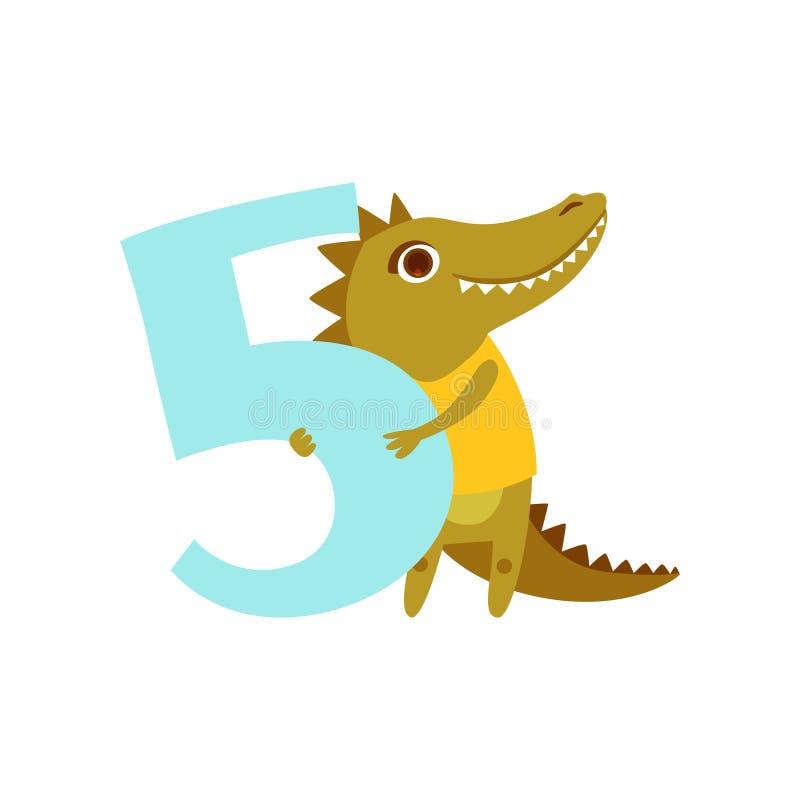Смешное милое животное croc и 5, годовщина дня рождения, учат подсчитать иллюстрацию вектора шаржа концепции бесплатная иллюстрация