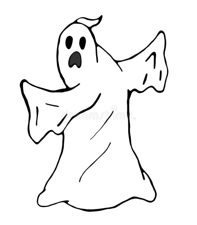 Смешное призрака вспугнутое 2D иллюстрация изолированная на белой предпосылке иллюстрация вектора