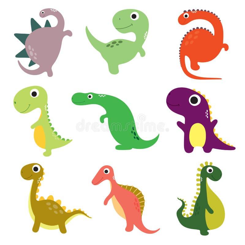 Смешное собрание динозавров мультфильма иллюстрация вектора
