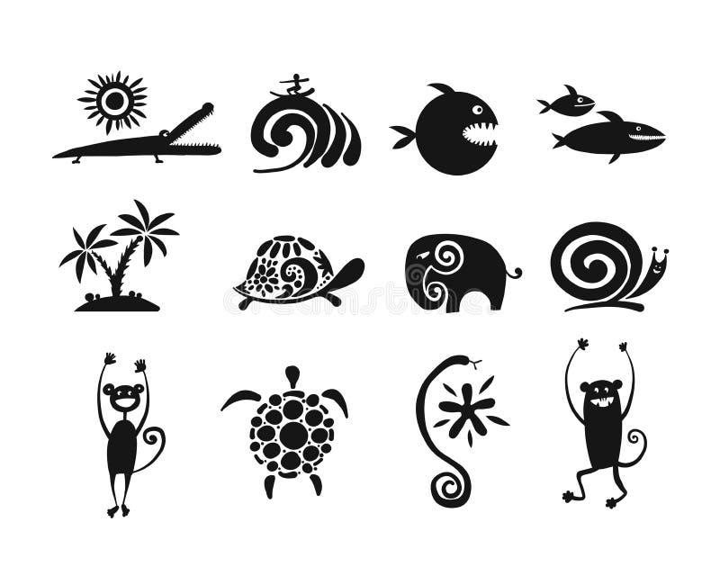 Смешное собрание животных, черный силуэт для вашего дизайна иллюстрация вектора