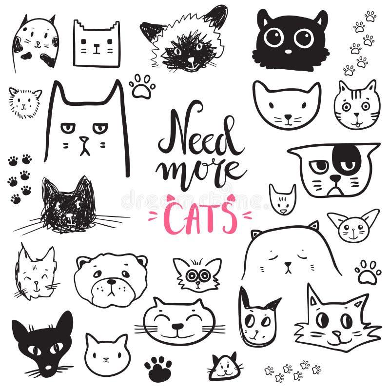 Смешное собрание значков кота doodle Любимчик нарисованный рукой, ребенк нарисованный des иллюстрация вектора