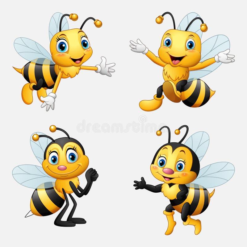 Смешное собрание пчелы шаржа иллюстрация штока
