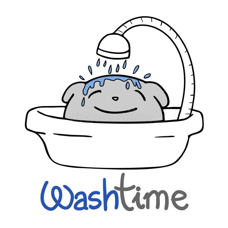 Смешное сообщение времени любимца и мытья иллюстрация штока