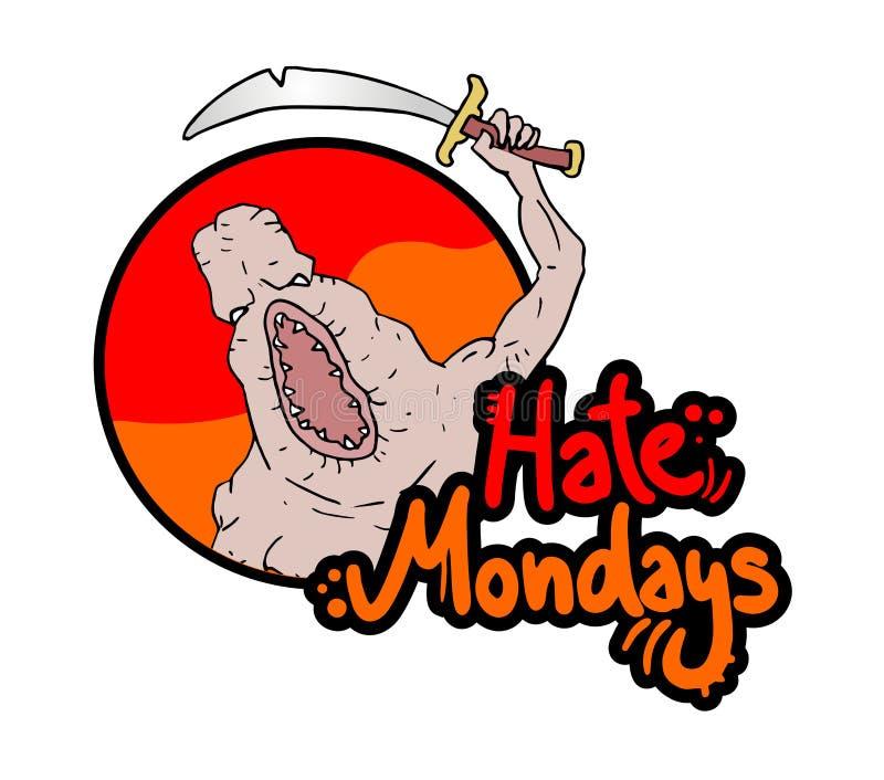 Смешное сообщение понедельников ненависти бесплатная иллюстрация