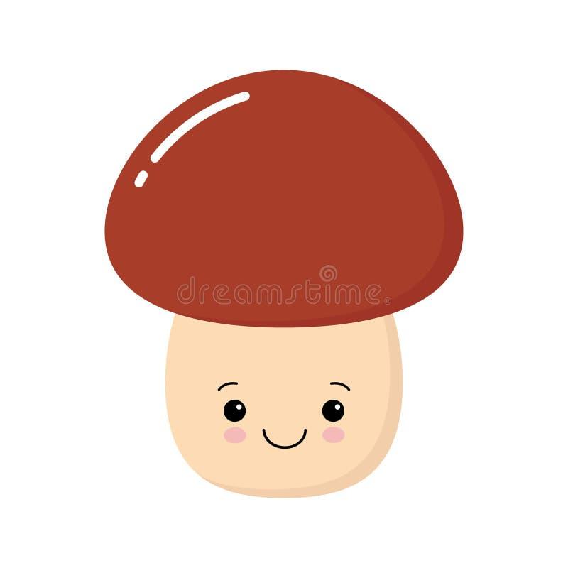 Смешное счастливое милое усмехаясь porcini гриба Значок kawaii иллюстрации персонажа из мультфильма вектора плоский r иллюстрация вектора