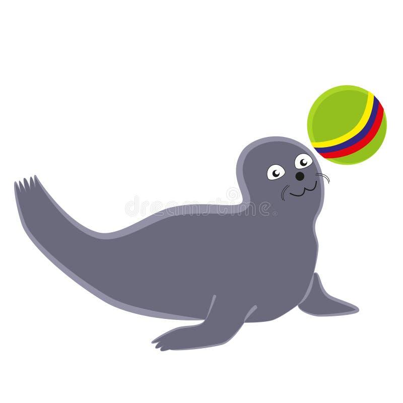 Смешное уплотнение играя с шариком бесплатная иллюстрация