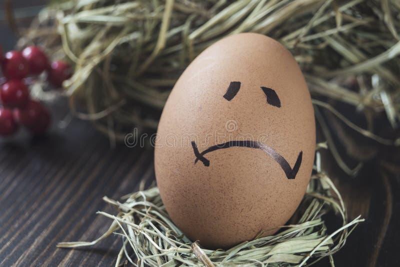 Смешное яйцо с грустной стороной стоковое фото rf