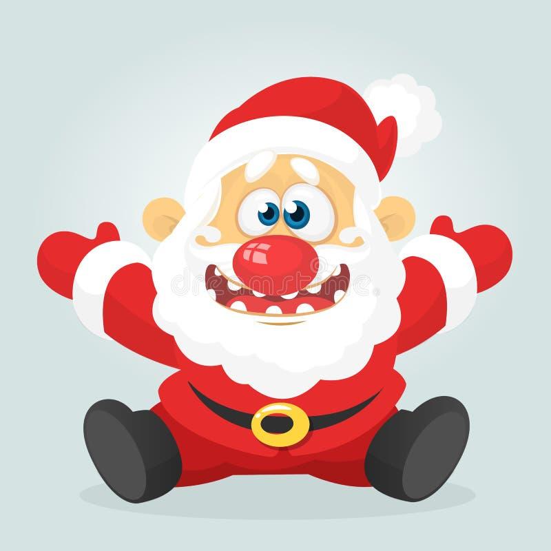 Смешное excited усаживание Санта Клауса шаржа Иллюстрация рождества вектора иллюстрация вектора