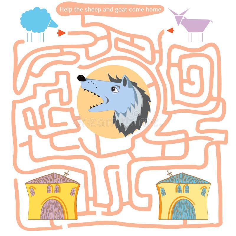 Смешной лабиринт Помогите овцам и козе прийти домой бесплатная иллюстрация