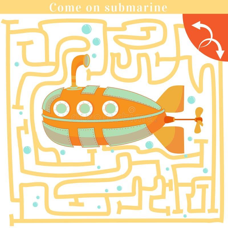 Смешной лабиринт Приведенный на подводную лодку бесплатная иллюстрация