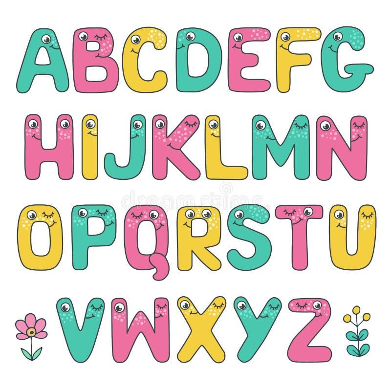 Смешной алфавит детей с глазами бесплатная иллюстрация