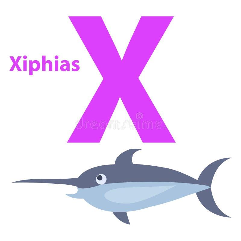 Смешной алфавит с письмом x мультфильма животным пурпурным иллюстрация вектора