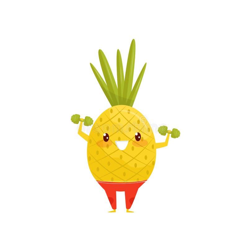 Смешной ананас работая с гантелями, sportive персонаж из мультфильма овоща делая вектор тренировки фитнеса иллюстрация вектора
