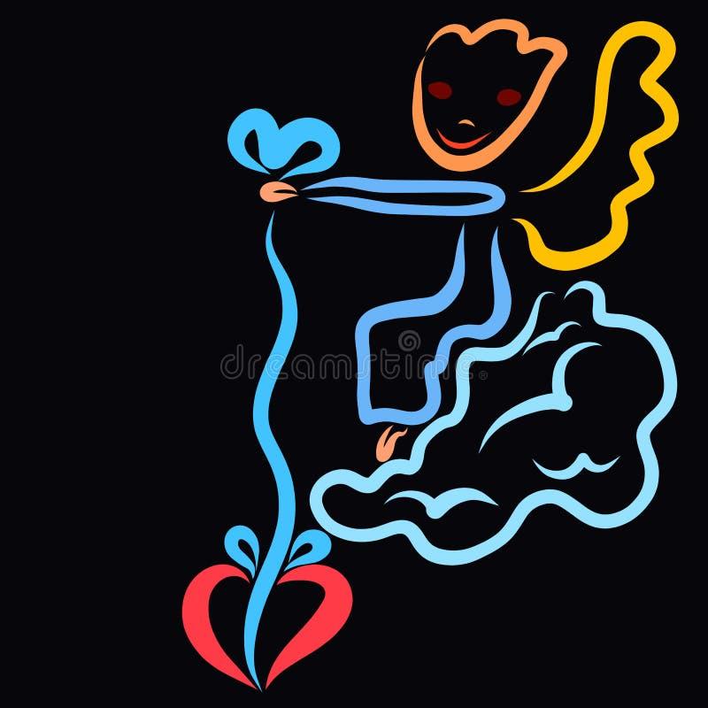 Смешной ангел сидя на облаке, держа сердце на строке, подарок или приманку иллюстрация штока