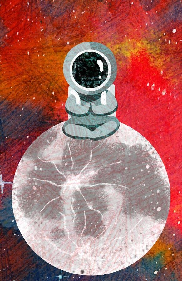 Смешной астронавт сидит на иллюстрации текстуры растра планеты иллюстрация штока
