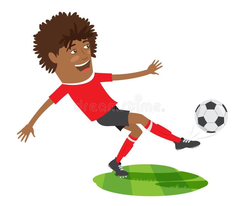 Смешной Афро-американский футболист футбола нося красное t-shir иллюстрация вектора