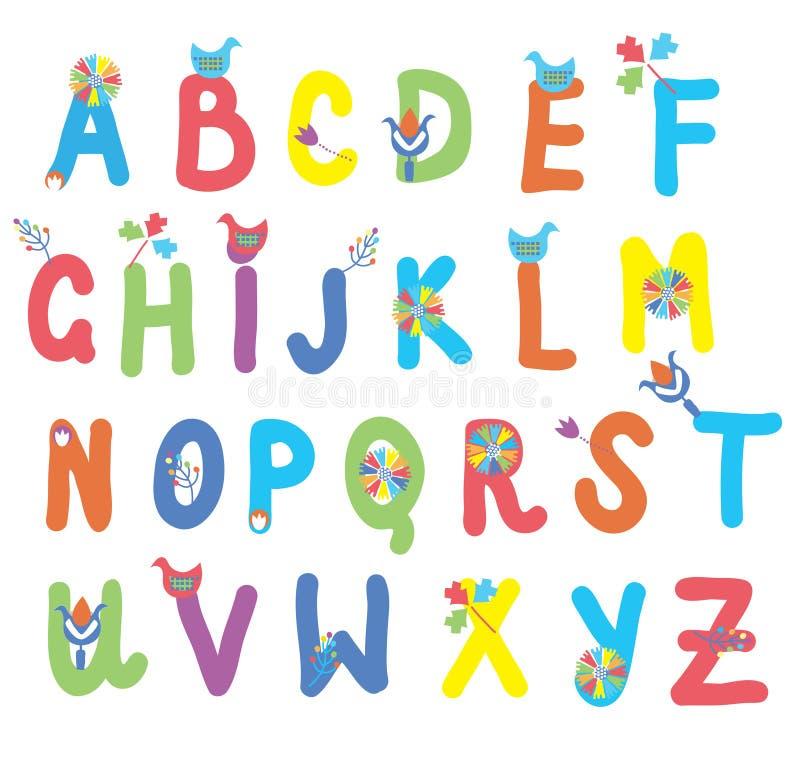Смешной алфавит для детей с цветками бесплатная иллюстрация