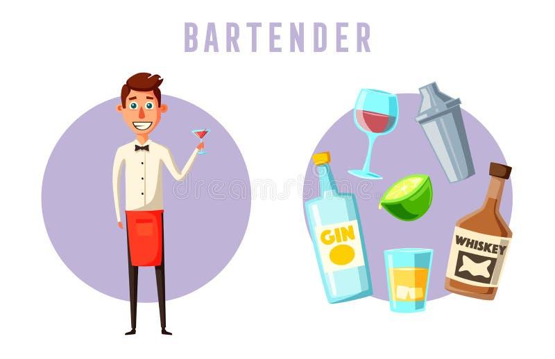 Смешной бармен, милый характер иллюстрация мальчика неудовлетворенная шаржем меньший вектор иллюстрация штока