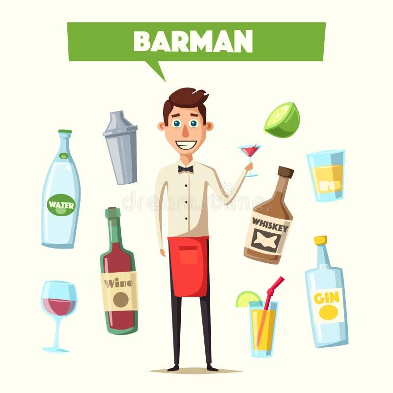 Смешной бармен, милый характер иллюстрация мальчика неудовлетворенная шаржем меньший вектор иллюстрация вектора