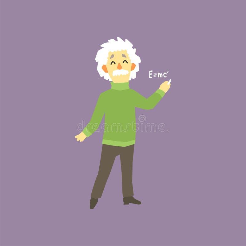 Смешной без сокращений портрет Альберта Эйнштейна Известные мужские теоретические физики в мире e mc2 человек шаржа с иллюстрация вектора