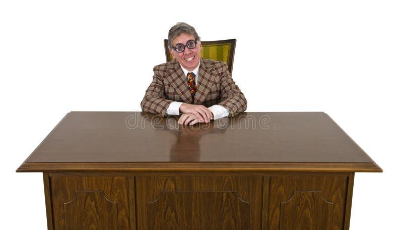 Смешной бизнесмен или босс, большая изолированная усмешка стоковое фото rf
