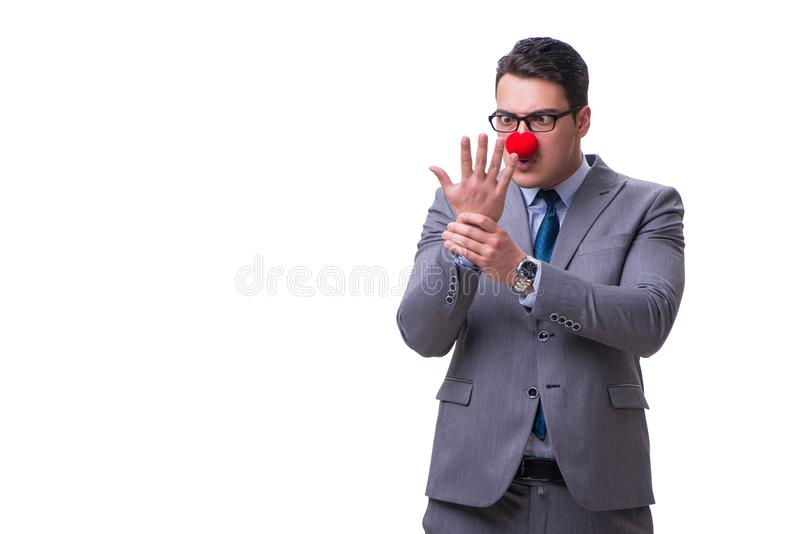 Смешной бизнесмен клоуна изолированный на белой предпосылке стоковое фото