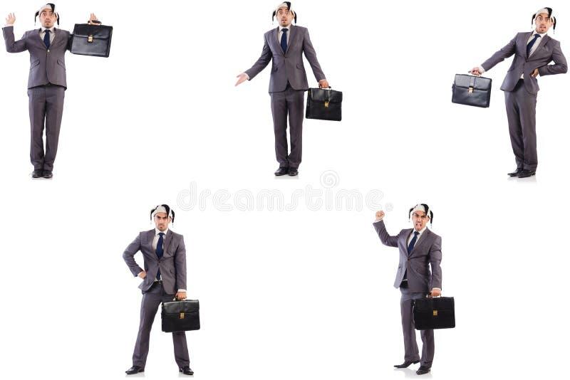 Смешной бизнесмен клоуна с портфелем стоковая фотография rf