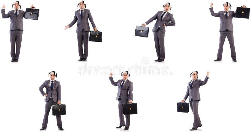 Смешной бизнесмен клоуна с портфелем стоковое изображение rf