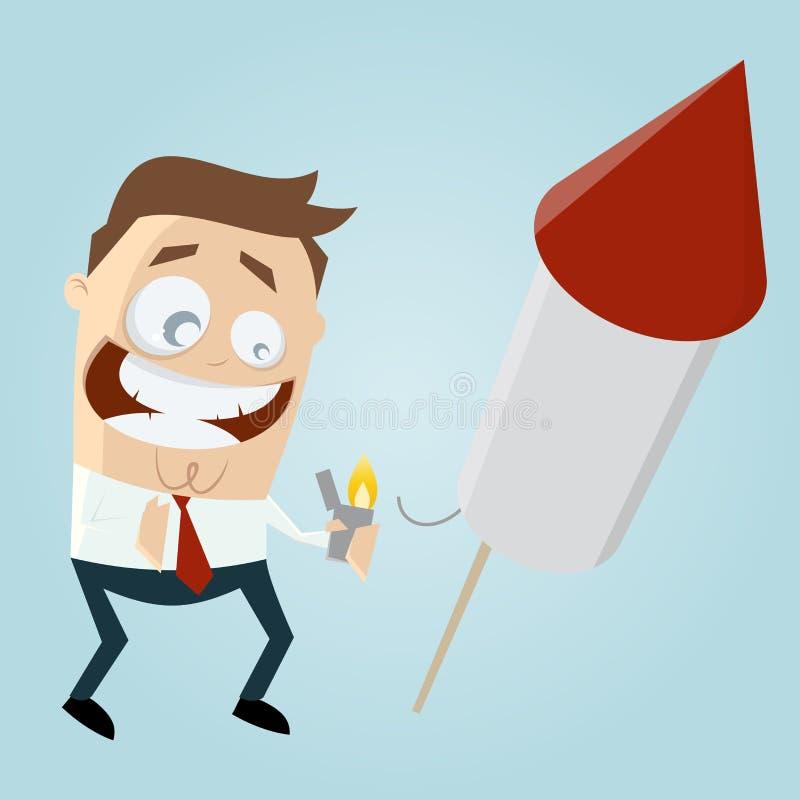 Смешной бизнесмен начиная большую ракету фейерверков иллюстрация штока