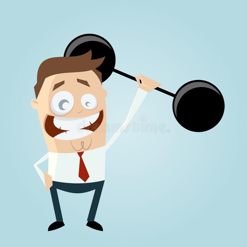 Смешной бизнесмен поднимает весы бесплатная иллюстрация